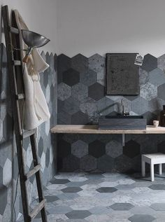 Azul Origami tiles by Artesia These Modern Bathroom Tile Designs Will Inspire The Most Reluctant Remodelers Modern Bathroom Tile, Bathroom Tile Designs, Bathroom Ideas, Non Slip Floor Tiles, Wall Design, House Design, Natural Stone Wall, Natural Stones, Wall Tiles