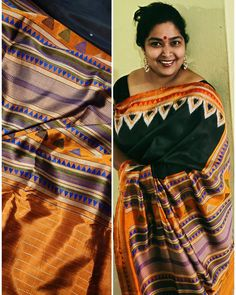 First-borns have some special privileges and we have a festival to our name called Prathamastami And this prathamastami chose this tribal ikat fusion dongria. The original ones are lovely and colorful. But when this saree first came I loved the contrast in these sarees. And black being my fevorite with this finest caramel contrast palla and blouse. Did not get the time to make the blouse so just wrapped with another saree's blouse. Sambalpuri Saree, Saree Blouse, Sari, Green Turtle, Silk Sarees Online, Pure Silk Sarees, Ikat, Caramel, Contrast