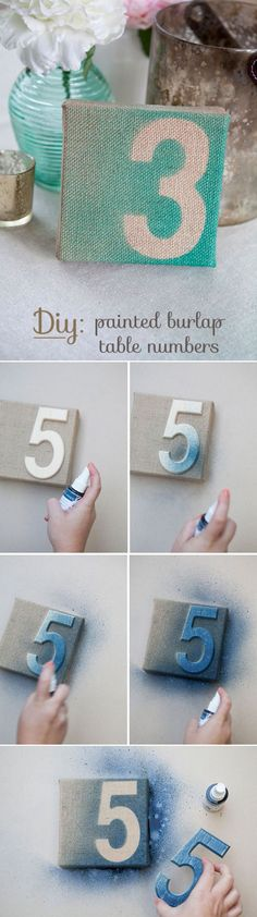 Let the CAE team recreate these unique table numbers for your own special day! www.creativeambianceevents.comdiy painted burlap table numbers for rustic wedding ideas: