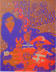 Beatles black light poster Lucy in the Sky with Diamonds