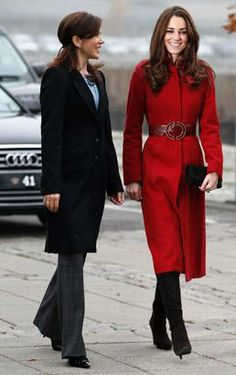 Kate Middleton, Duchess of Cambridge, right, and Crown Princess Mary of Denmark arrive for a visit to the UNICEF Emergency Supply Centre, Nov. 2, 2011 in Copenhagen, Denmark. (Phil Noble/WPA Pool/Getty Images)