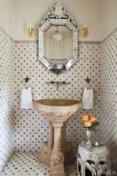 Interior Design by Barry Dixon, pure graphic delight to fit in the under the stairs powder room, if you will. Bathroom Interior, Bathroom Wall, Small Bathroom, Bathroom Ideas, Rental Bathroom, Concrete Bathroom, Bathroom Plumbing, Bathroom Designs, Bathroom Faucets
