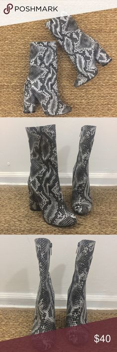 Public Desire Elsa Faux Snake skin booties Faux snake print fabric ankle boots with a chunky block rounded heel. These booties sit high on the ankle with a rounded toe so go great with mini dresses. Public Desire Shoes Ankle Boots & Booties