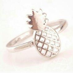 pineapple ring Silver Rhinestone pineapple ring Metal-copper Diameter-1.7 cm One size Jewelry Rings