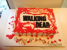 The walking dead cake...marble cake with vanilla buttercream with red marshmallow melted as blood