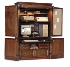 by converting an armoire with desktop and shelves, you can whip up