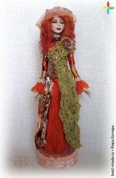 Янтарный прибой. Авторская кукла., Aтлас, Шелк , Шифон , Янтарь, Коралл, Пластик, Бисер | Bestmade - изделия ручной работы