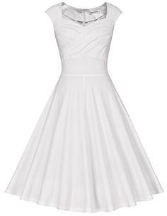 b3288f9a239be2 MUXXN Damen Retro 1950er Kleider Swing Kleid Vintage Rockabilly Kleid  Partykleid Cocktailkleid: Amazon.de