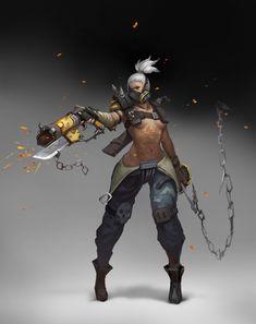 ArtStation - DraftII(Unfinished)-Overwatch Roadhog female version, Anima 08