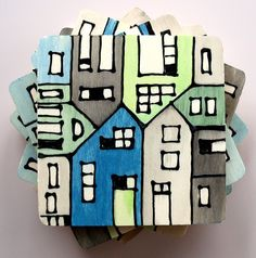 wood tile coasters hand painted blue, green & grey