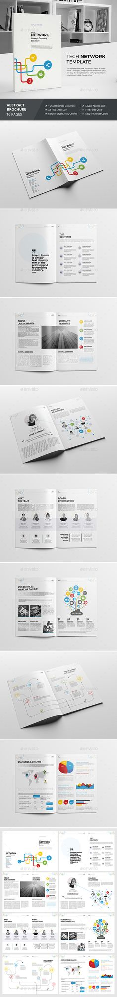 Haweya Tech Network Brochure — InDesign INDD #light #business • Download ➝ https://graphicriver.net/item/haweya-tech-network-brochure-/16867711?ref=pxcr