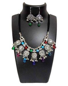 Oxidized Metal Navratri Jewellery Set-Multicolor Beads 2