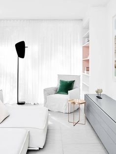 S-fold ceiling-to-floor sheer curtain in White colour.   Window Furnishing: Curtains   Room: Kitchen & Living
