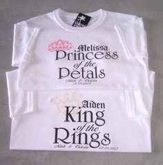 King of the Rings and Princess of the Petals Personalized Wedding T-Shirts : Buy… Cute Wedding Ideas, Gifts For Wedding Party, Perfect Wedding, Fall Wedding, Wedding Favors, Rustic Wedding, Our Wedding, Dream Wedding, Wedding Inspiration
