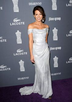 Kate Beckinsale in a romantic silvery-toned off-the-shoulder gown.