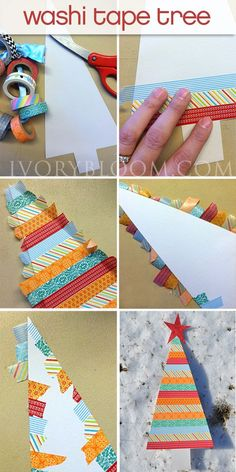 Steps to make this cute tree out of washi tape! Fun craft project for the kids. #pickyourplum #washitape #christmas #craft #ivorybloom #annasdesign Christmas Scrapbook, Diy Christmas Cards, Xmas Cards, Christmas Crafts For Kids, Winter Christmas, Homemade Christmas, Christmas Holidays, Christmas Decorations, Christmas Projects