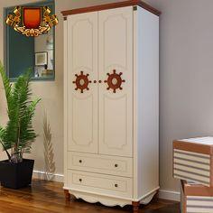 Детский гардеробный белый шкаф с коричневыми ручками в форме штурвала в морском стиле купить в интернет-магазине https://lafred.ru/catalog/catalog/detail/37607671855/