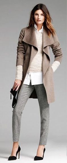 Womens Apparel: outfits we love | Banana Republic--fall business casual must-haves: classic heels, professional pant, winter coat, and clean yet stylish sweater-button down combo.