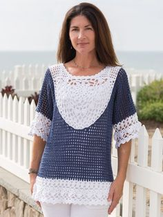 With its eye-catching crochet medallion and lace trims on a contrasting mesh background, this tunic is destined to become your favorite pullover of the season! Design is made using King Cole Cottonsoft #3 DK-weight yarn in 2 different colors. 2 (3, 4...