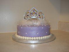 Princess Tiara Birthday Cake (covered with purple fondant)