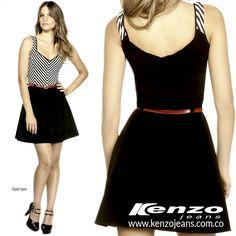 La combinación de los colores blanco y negro son un básico con mucho estilo y son tendencia para esta temporada ¿Te atreverías a usarlo?. #KenzoJeans www.kenzojeans.com.co