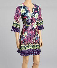 Look at this #zulilyfind! Pink & Purple Floral Dress by Reborn Collection #zulilyfinds