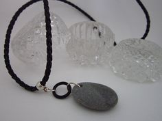 Modern Beach Stone and O Ring Pendant Necklace by PohdDesign