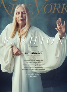Joni Mitchell fronts New York's biannual fashion issue, Feb 2015, photo by Norman Jean Roy