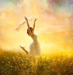 Free in Him, Praise the Lord. Prophetic Art painting of woman running in a field of wildflowers in God's glory