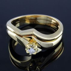 0.10ct Round Cut Diamond 14K Yellow Gold Plated Bridal Ring Sz 6.25 #prelovedjewelry #Bridal