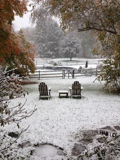 Frosty Thanksgiving garden . . . . . . . . . . . . (landscape, snow, autumn, all is safely gathered in)