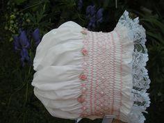 Smocked baby bonnet...Heirloom...Newborn...Reborn ..Christening..Baptism..Wedding...Vintage.....Easter....Summer..Photo Prop. $29.95, via Etsy.