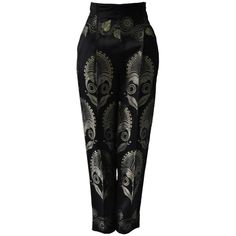 Preowned Exquisite Gianni Versace Gold Lame Embroidered Black Silk... ($1,670) ❤ liked on Polyvore featuring pants, black, silk pants, gold trousers, versace, gold lame pants and lame pants