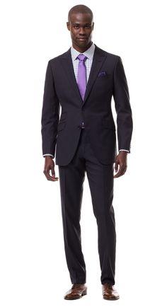 Charcoal Fuschia Pinstripe Suit
