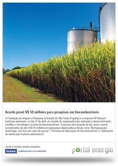 Acordo preve R$ 50 miçhões para pesquisas em biocombustíveis