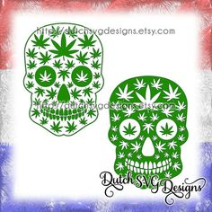 2 Skull cutting files with weed leaves, in Jpg Png SVG EPS DXF, for Cricut & Silhouette, marijuana cannabis pot hemp hash joint peace reggae