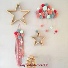 Trendy wall art for kids cribs Ideas Pom Pom Crafts, Yarn Crafts, Sewing Crafts, Diy And Crafts, Arts And Crafts, Diy For Kids, Crafts For Kids, Diy Crib, Pom Pom Garland