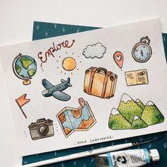 travel idea journal Travel hacks best 28 ideas - B - travelideas Bullet Journal 2019, Bullet Journal Ideas Pages, Bullet Journal Inspiration, Scrapbook Disney, Travel Scrapbook, Doodle Drawings, Cute Drawings, Summer Drawings, Doodle Art Posters