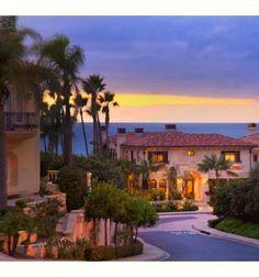 sunset on beautiful Mediterranean homes