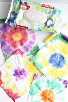 tie dye with baby wipes kreatives pinterest kunstunterricht kinderbasteln und batik. Black Bedroom Furniture Sets. Home Design Ideas