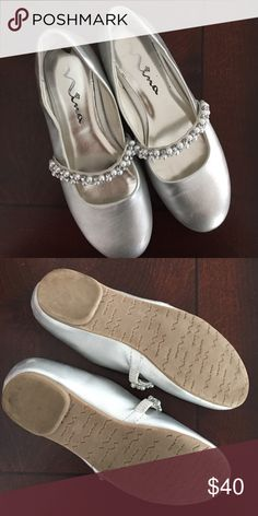 Silver dress shoes! Silver dress shoes with pearls and rhinestones. Nina Shoes Dress Shoes