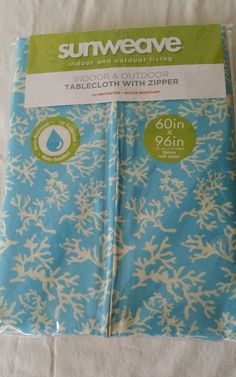 "Tablecloth Fabric Umbrella Zipper Oblong Blue 60 x 96""  Indoor Outdoor NEW #ExcellHomeFashions"