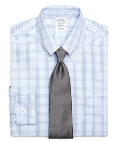Non-Iron Slim Fit Glen Plaid Overcheck Dress Shirt Light Blue