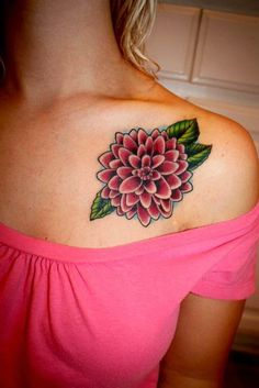 Dahlia Flower Tattoo:Red, which conveys power and strength to the person receiving the flower as a gift Pink and purple, two of the colors associated with kindness and grace White, a symbol of staying focused and pure Blue and green, perfect for occasions involving fresh starts and big changes The black Dahlia, which is actually a burgundy color tied to a warning of betrayal