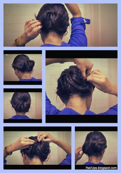 Fishtail Braid Ballerina Bun - Sock bun chignon updo hair tutorial on medium long hair - everyday easy