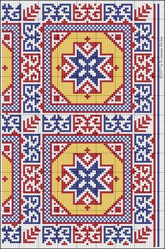 EIGHT-POINTED STAR IN OCTAGON IN SQUARE   Medieval Middle Eastern Cross Stitch Embroidery, graphed by Rosemary Stecher (Mathilde Eschenbach)   Blue, red and yellow silk on linen. Greek stitch and spaced cross stitch.   Egypt, Mamluk period (1250-1517)