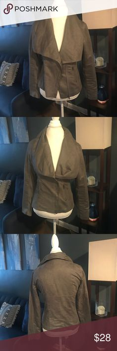 Yag Couture Jacket Yag Couture Gray Leather/Suede Jacket Yag Couture Jackets & Coats