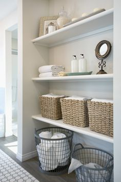 Looking for the best linen closet organization ideas? Check out these easy ways to organize your linen closet, so you can store your sheets neatly and create a comfortable guest experience at the same time. Bathroom Shelves, Bathroom Storage, Small Bathroom, Bathroom Ideas, Ikea Bathroom, Bathroom Plants, White Bathroom, Shiplap Bathroom, Master Bathroom