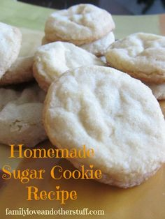 Home made sugar cookies!! Made with the absolute most simple ingredients and come out perfect. Bake less for more chewy, back more for more crisp. You must try it