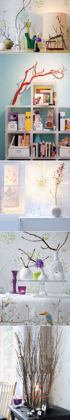 Cool Ideas to decorate your interior with tree branches. Note for me-paint a metallic gold, white, or bright for Ellie's room :)
